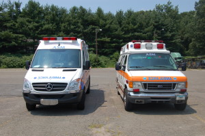 Mercedes Sprinter ambulance, left. and Ford ambulance. Ambulance Service of Manchester has almost completed a fleet change from the Fords to the Mercedes emergency vehicles. (Ambulance Service of Manchester / July 25, 2013)