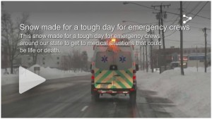 Snow made for a tough day for emergency crews