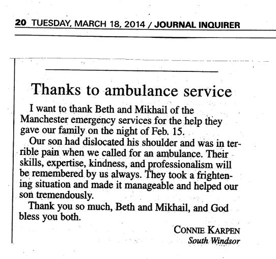 This Entry Was Posted In ASM Appearance In The Media Or Press, Employee  Spotlight, Thank You Letters And Tagged Ambulance Companies In Connecticut,  ...