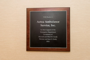 Hartford Hospital ED Presents Plaque Dedicated to Aetna and the Grady Family