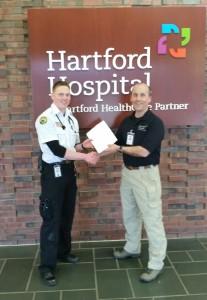 Samuel Dybdahl (L) with Hartford Hospital's Dave Bailey.